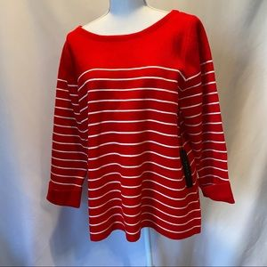 Tahari Red and White Knit Top XL NWT